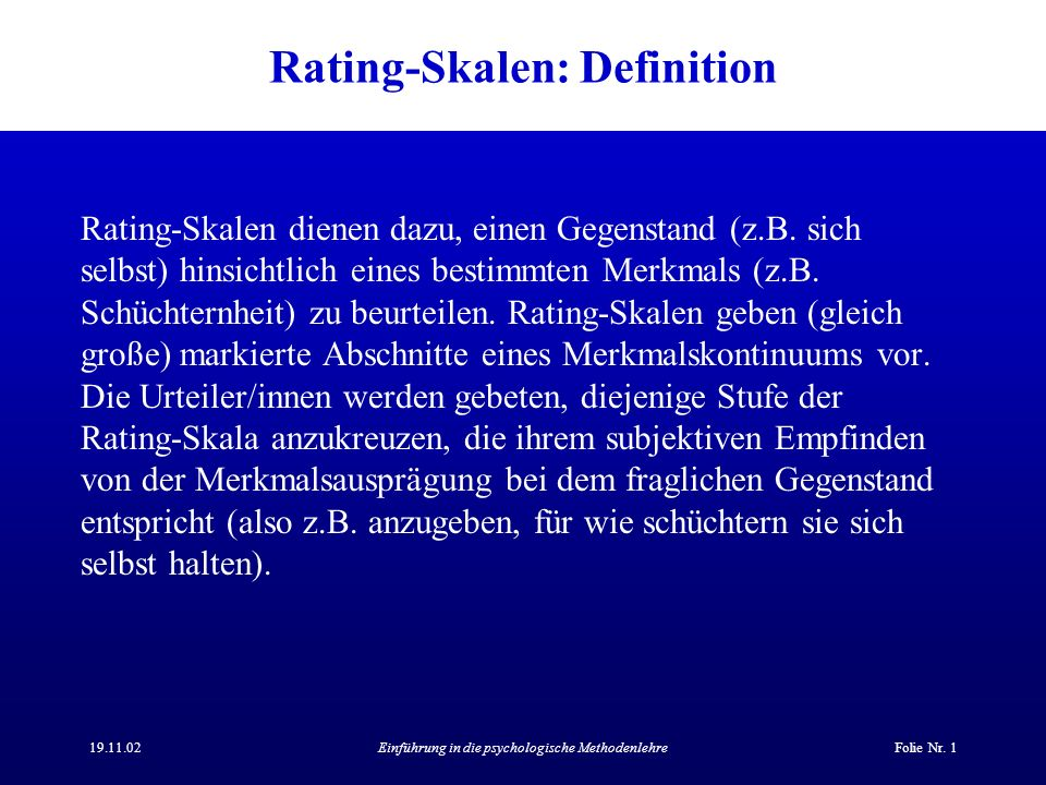 Rating-Skalen: Definition