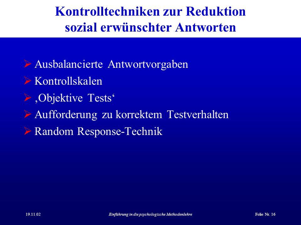 Kontrolltechniken zur Reduktion sozial erwünschter Antworten