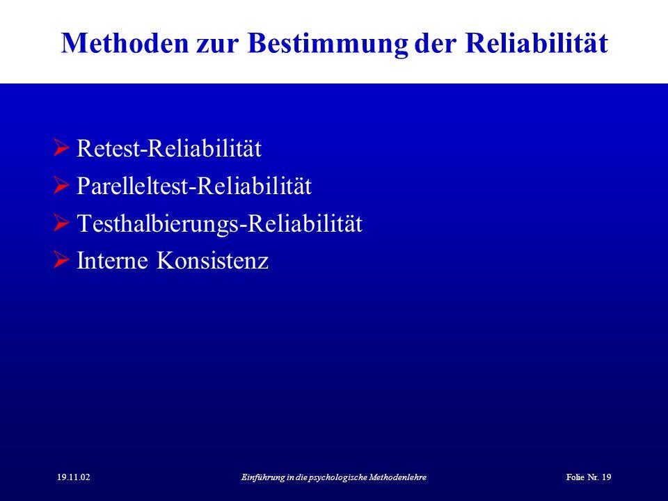 Methoden zur Bestimmung der Reliabilität