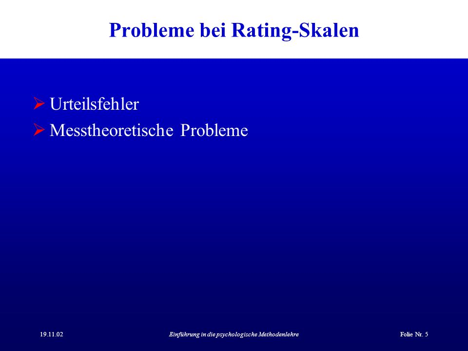Probleme bei Rating-Skalen