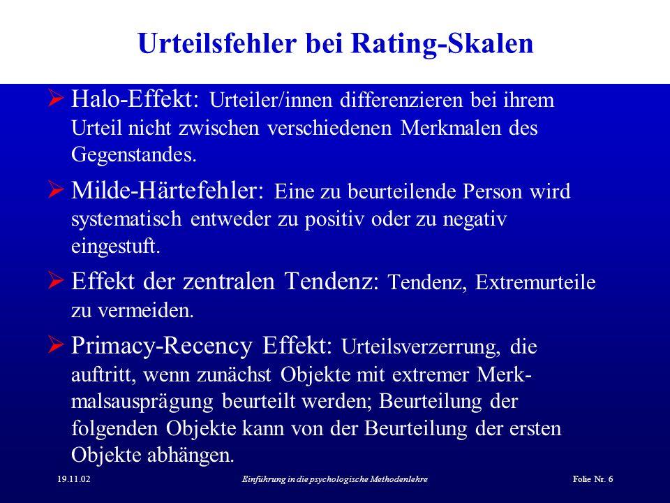 Urteilsfehler bei Rating-Skalen