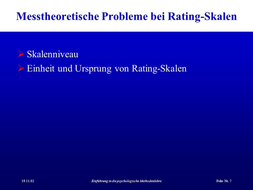 Messtheoretische Probleme bei Rating-Skalen