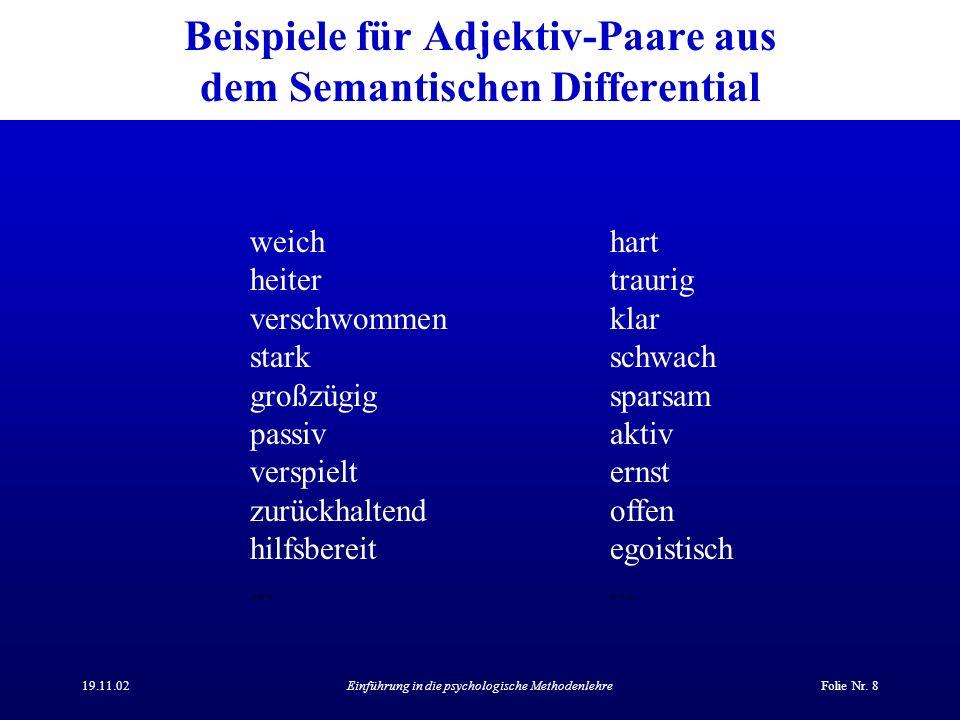 Beispiele für Adjektiv-Paare aus dem Semantischen Differential