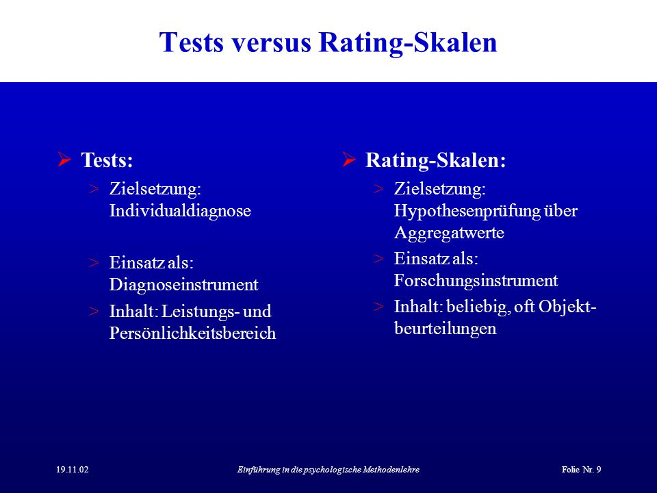 Tests versus Rating-Skalen