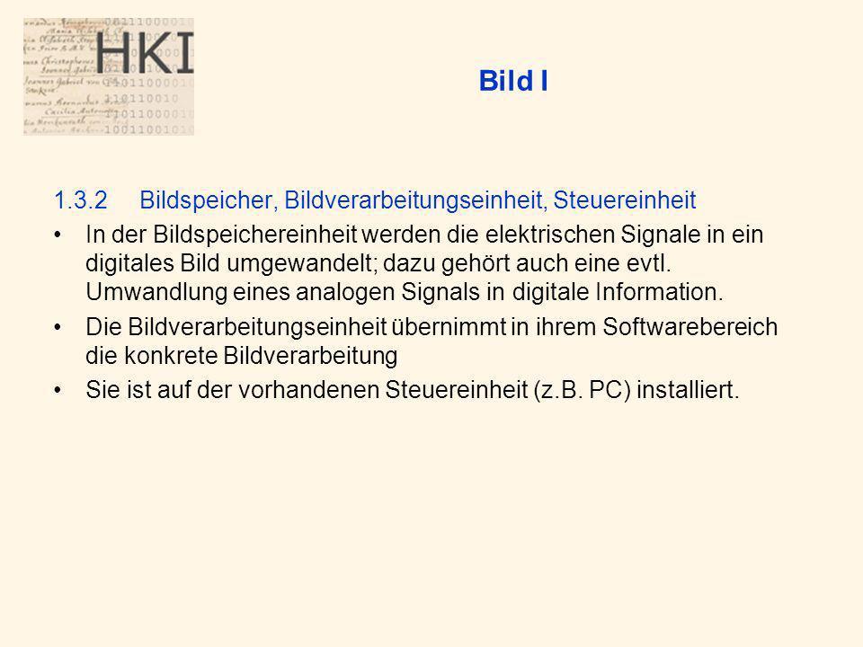Bild I 1.3.2 Bildspeicher, Bildverarbeitungseinheit, Steuereinheit