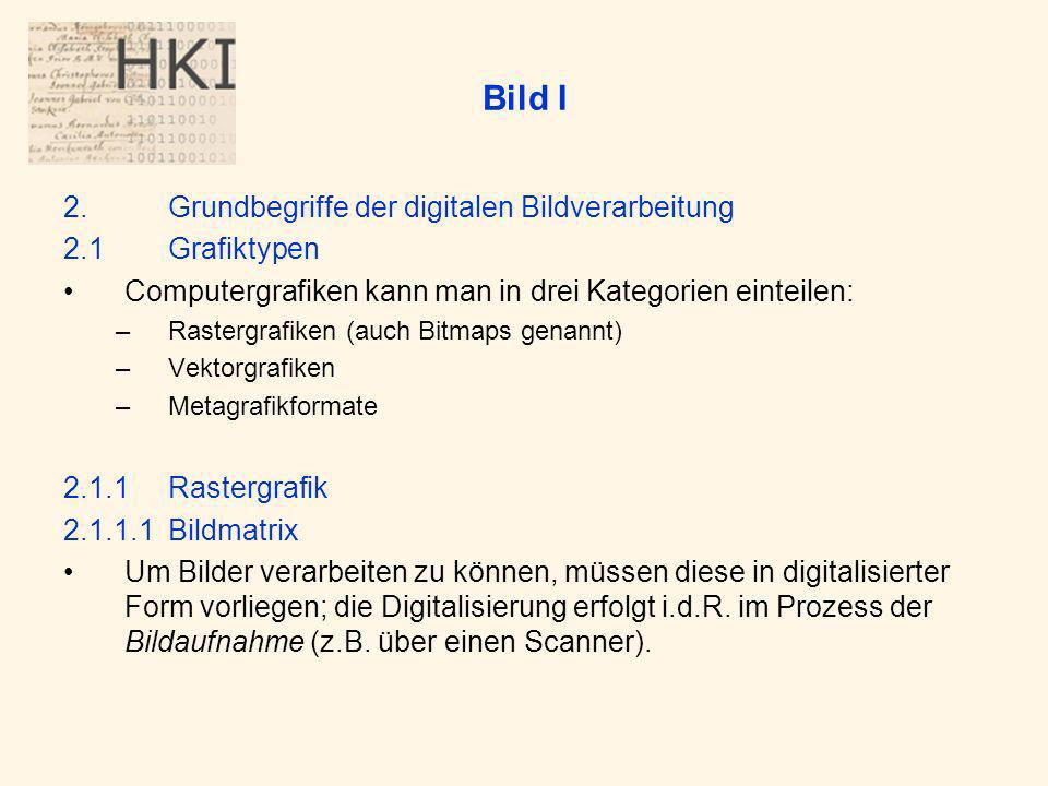 Bild I 2. Grundbegriffe der digitalen Bildverarbeitung 2.1 Grafiktypen