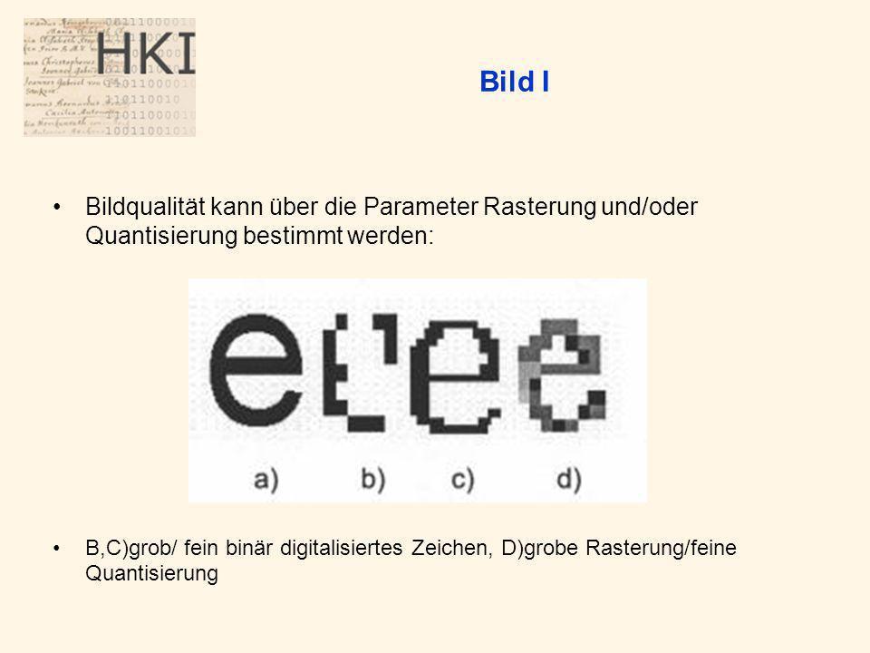 Bild I Bildqualität kann über die Parameter Rasterung und/oder Quantisierung bestimmt werden: