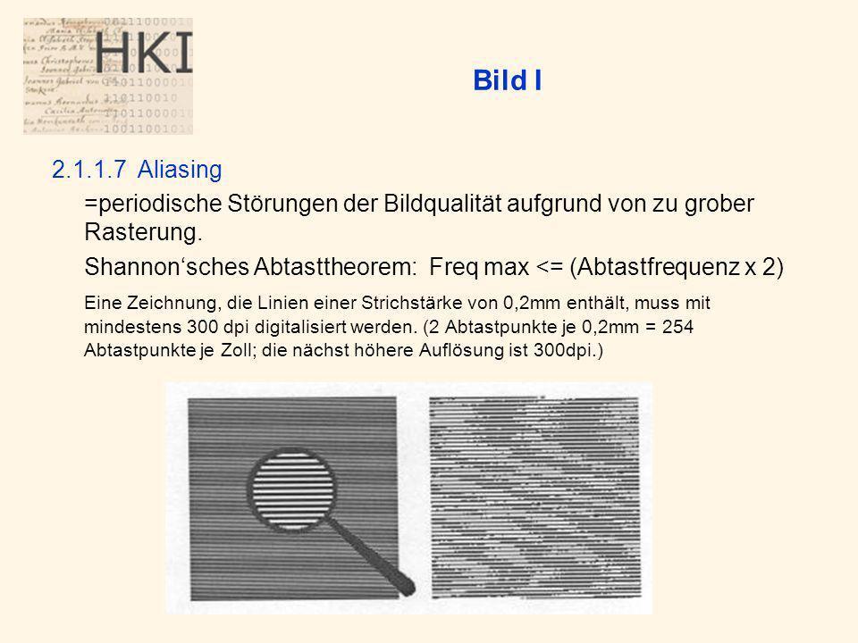 Bild I 2.1.1.7 Aliasing. =periodische Störungen der Bildqualität aufgrund von zu grober Rasterung.