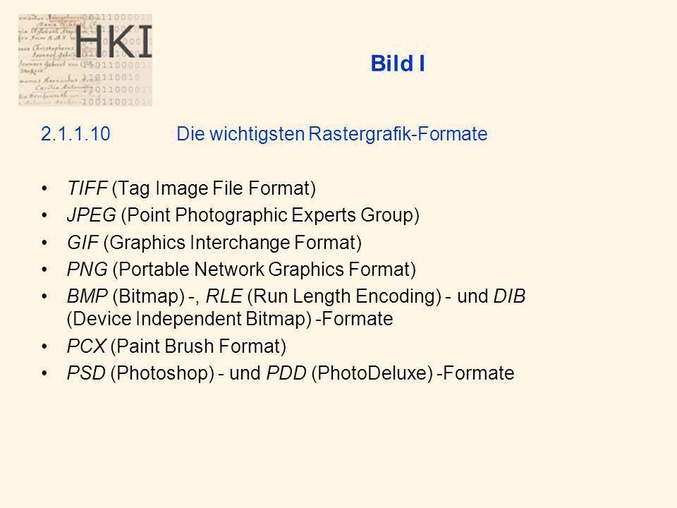 Bild I 2.1.1.10 Die wichtigsten Rastergrafik-Formate