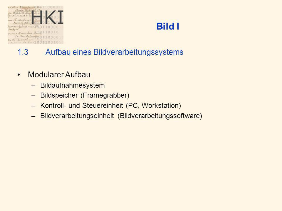 Bild I 1.3 Aufbau eines Bildverarbeitungssystems Modularer Aufbau