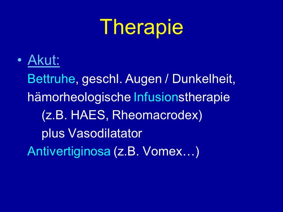 Therapie Akut: Bettruhe, geschl. Augen / Dunkelheit,