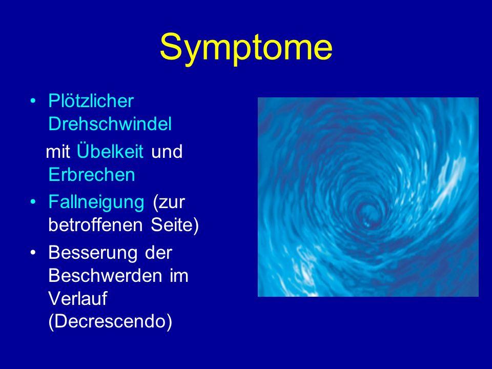 Symptome Plötzlicher Drehschwindel mit Übelkeit und Erbrechen