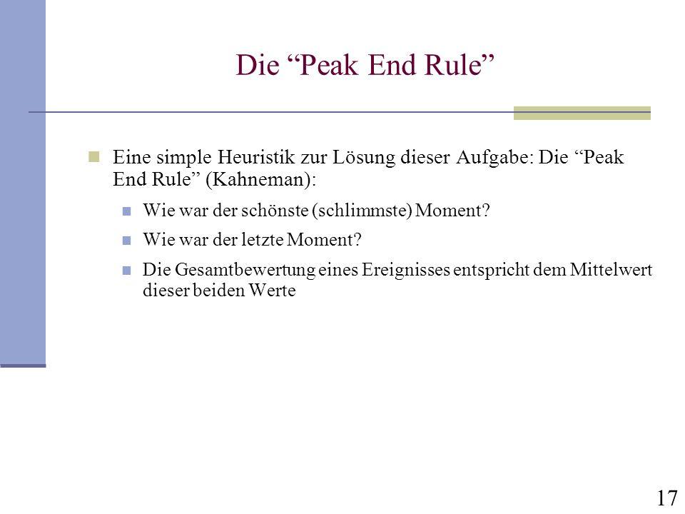 Die Peak End Rule Eine simple Heuristik zur Lösung dieser Aufgabe: Die Peak End Rule (Kahneman):