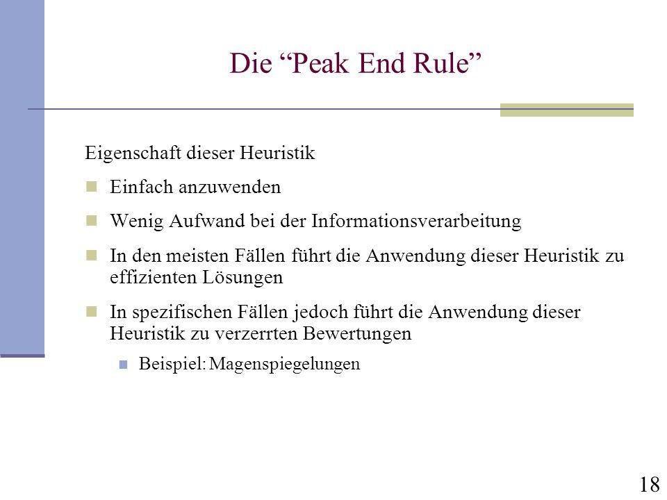 Die Peak End Rule Eigenschaft dieser Heuristik Einfach anzuwenden