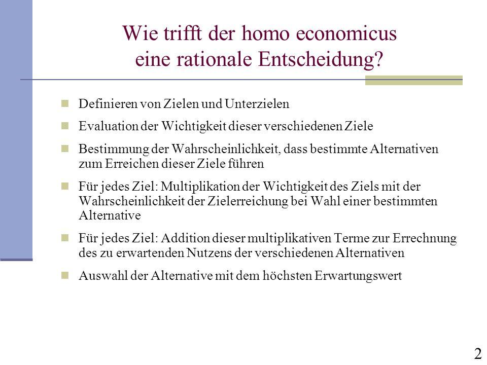 Wie trifft der homo economicus eine rationale Entscheidung
