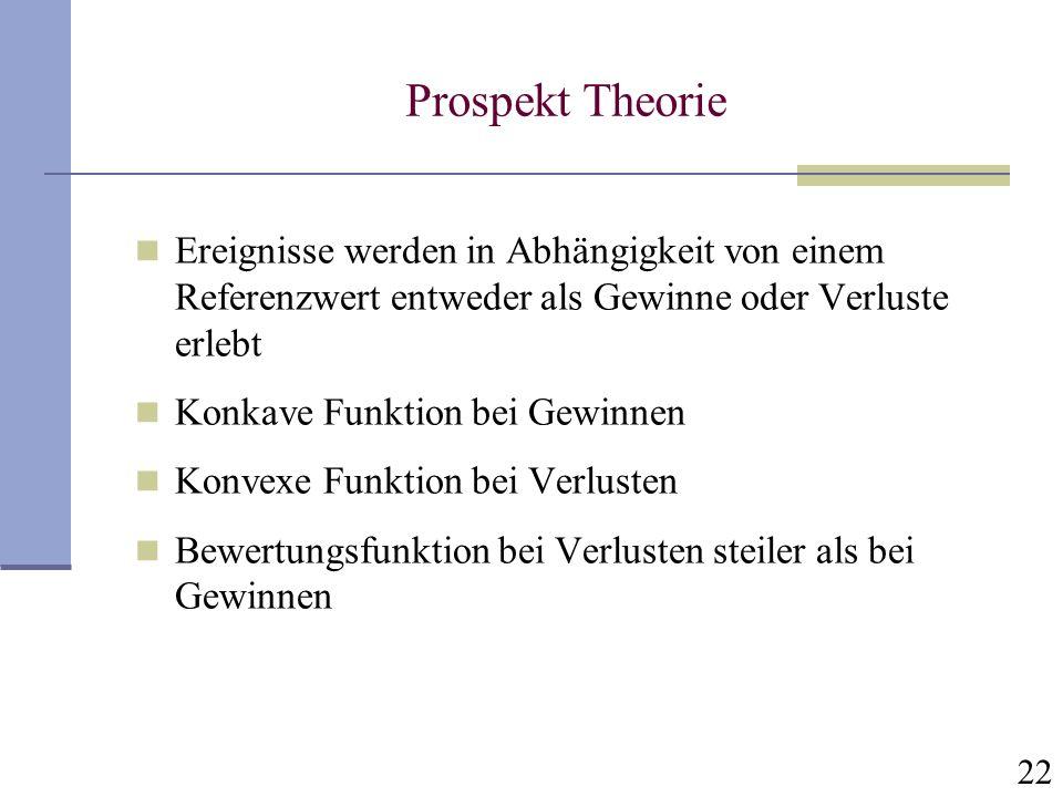 Prospekt Theorie Ereignisse werden in Abhängigkeit von einem Referenzwert entweder als Gewinne oder Verluste erlebt.