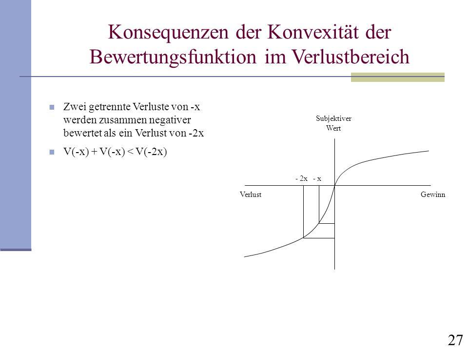 Konsequenzen der Konvexität der Bewertungsfunktion im Verlustbereich