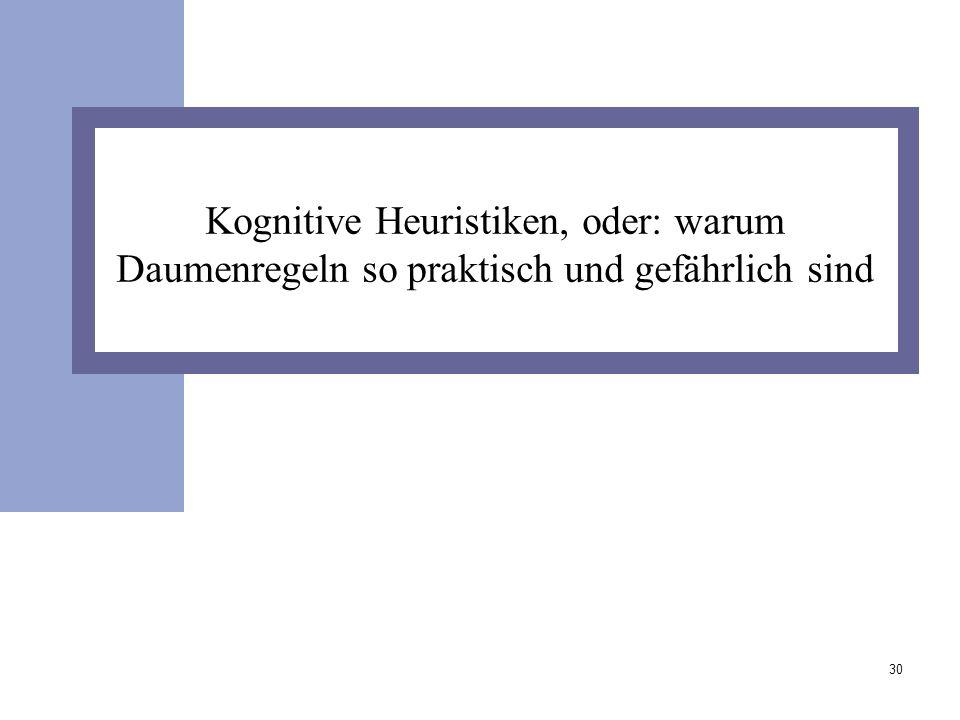 Kognitive Heuristiken, oder: warum Daumenregeln so praktisch und gefährlich sind