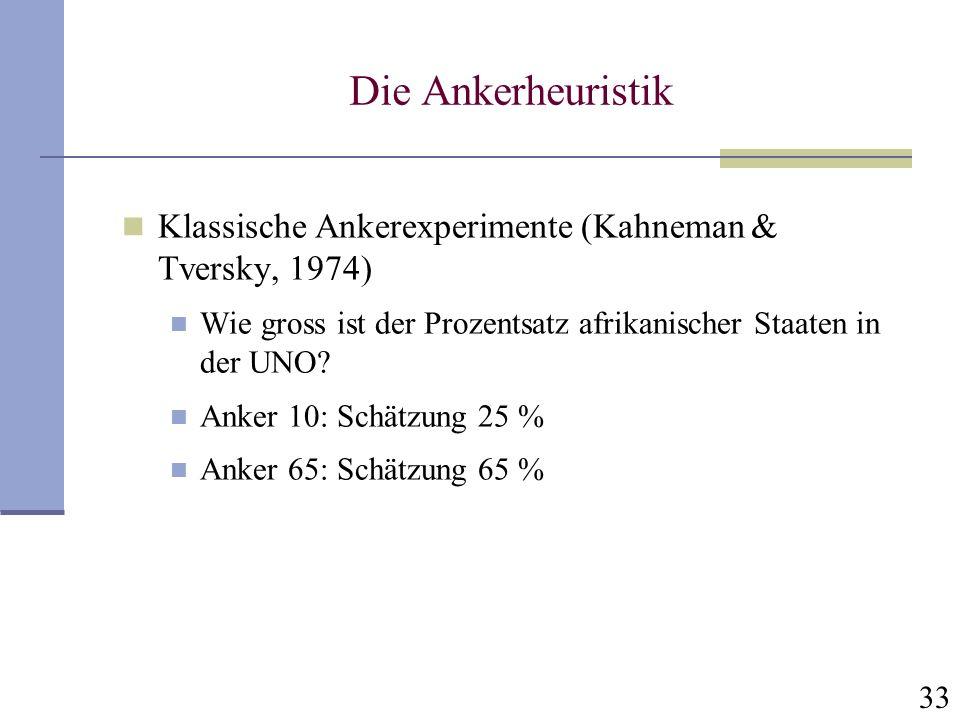 Die Ankerheuristik Klassische Ankerexperimente (Kahneman & Tversky, 1974) Wie gross ist der Prozentsatz afrikanischer Staaten in der UNO