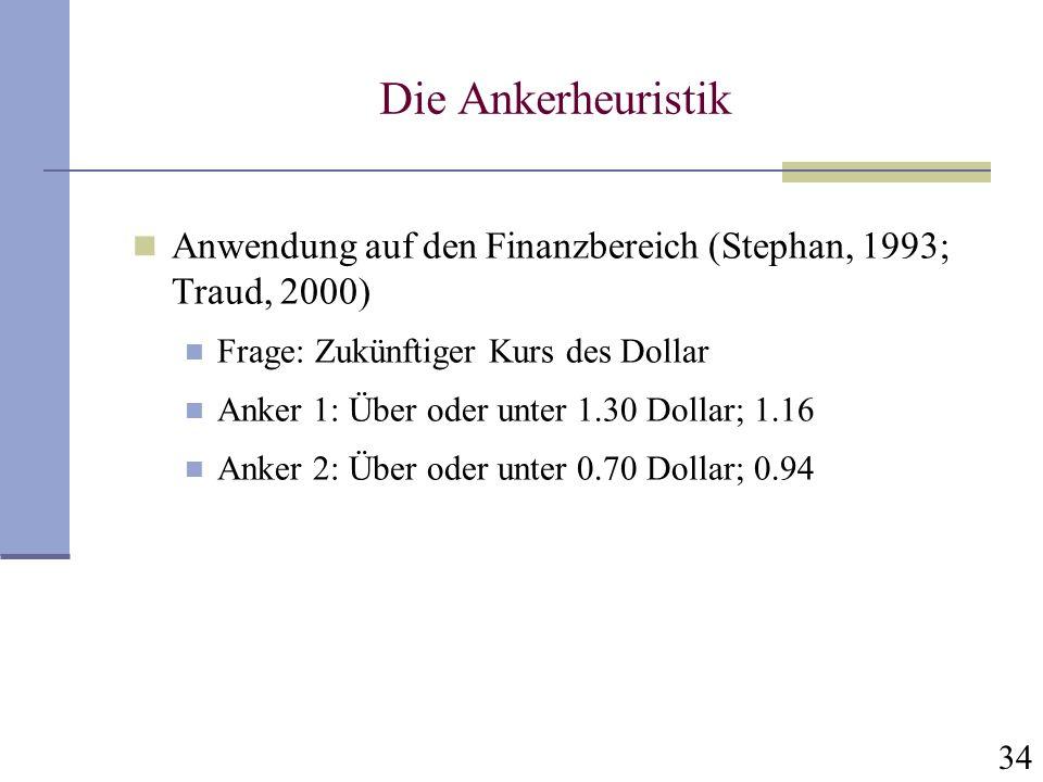 Die Ankerheuristik Anwendung auf den Finanzbereich (Stephan, 1993; Traud, 2000) Frage: Zukünftiger Kurs des Dollar.