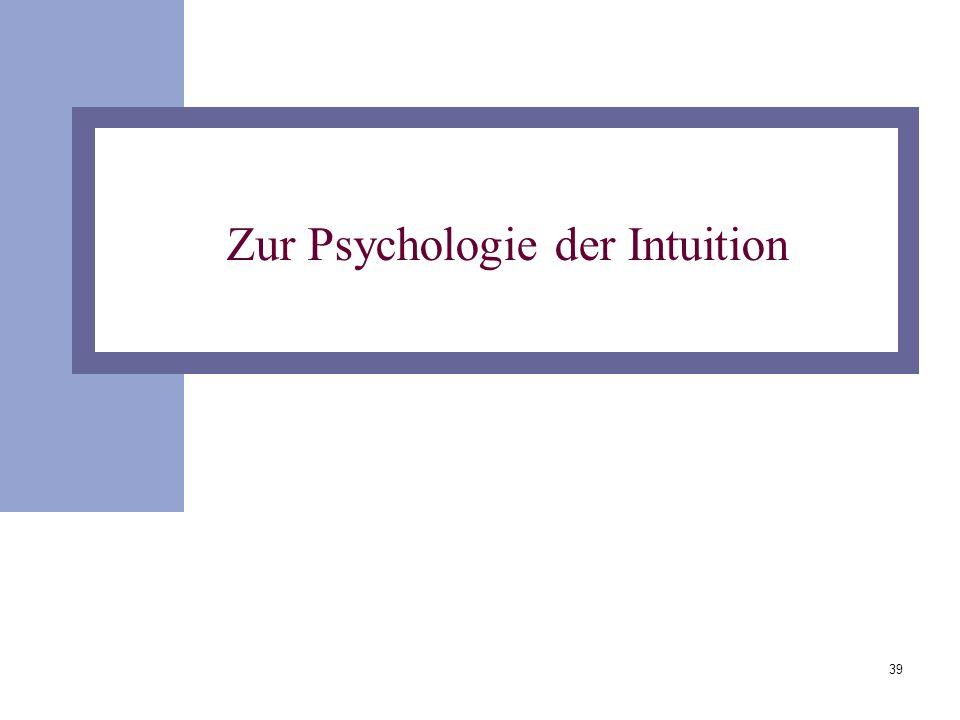 Zur Psychologie der Intuition