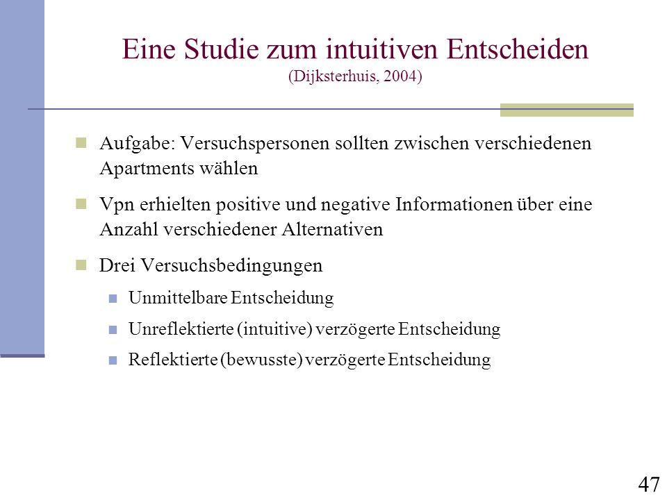 Eine Studie zum intuitiven Entscheiden (Dijksterhuis, 2004)