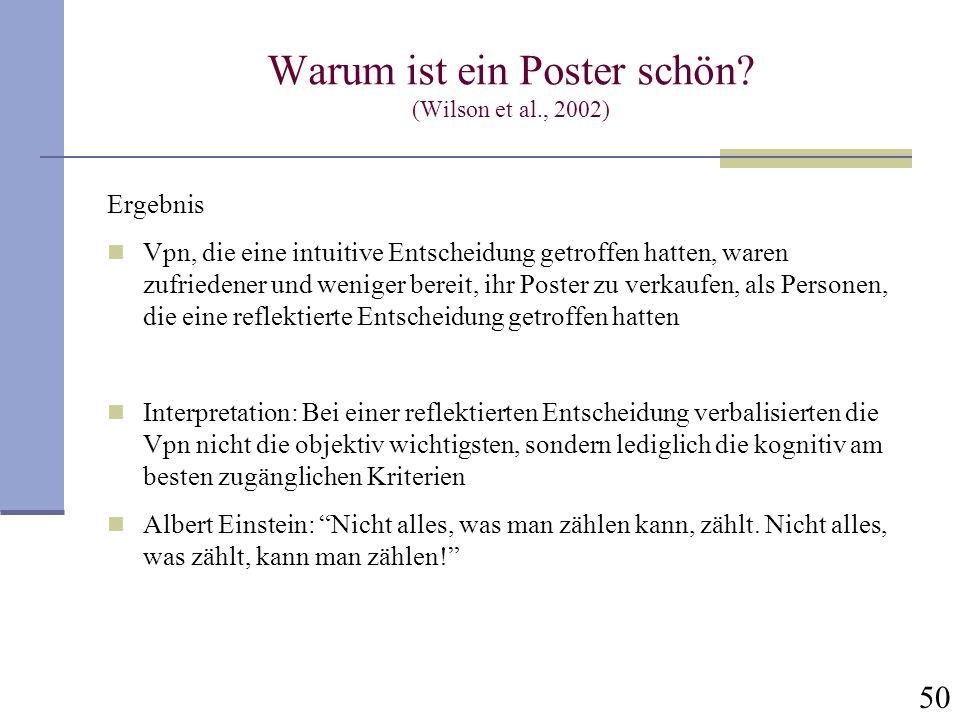Warum ist ein Poster schön (Wilson et al., 2002)