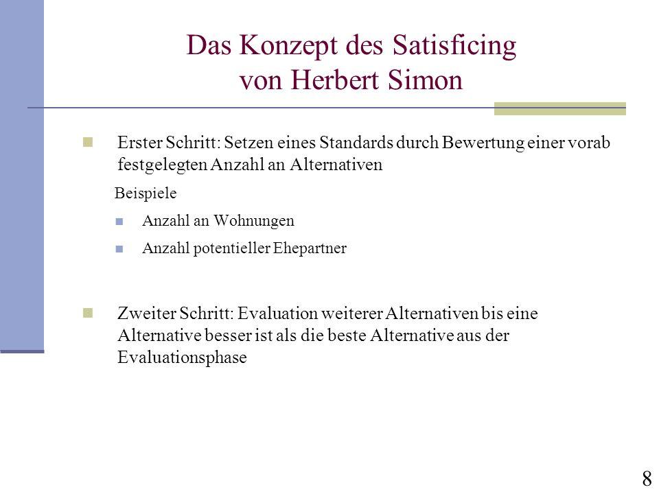 Das Konzept des Satisficing von Herbert Simon