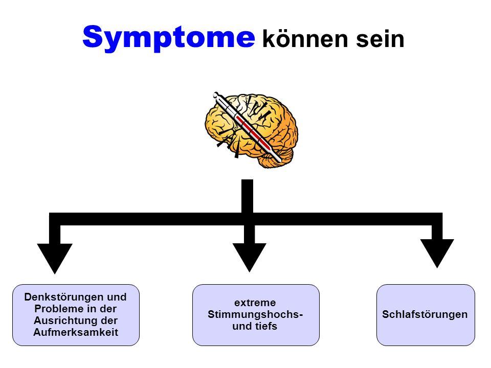 Symptome können sein Denkstörungen und Probleme in der Ausrichtung der Aufmerksamkeit. extreme Stimmungshochs- und tiefs.