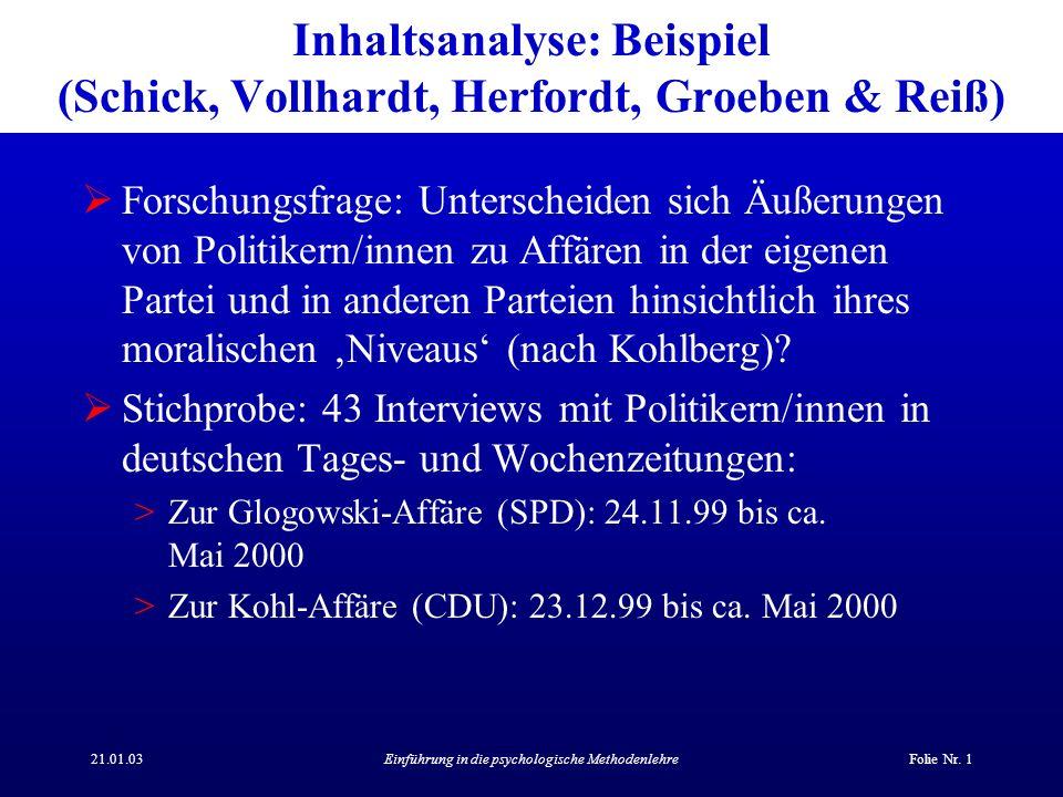 Inhaltsanalyse: Beispiel (Schick, Vollhardt, Herfordt, Groeben & Reiß)