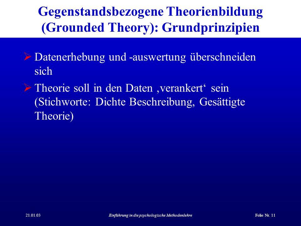 Gegenstandsbezogene Theorienbildung (Grounded Theory): Grundprinzipien