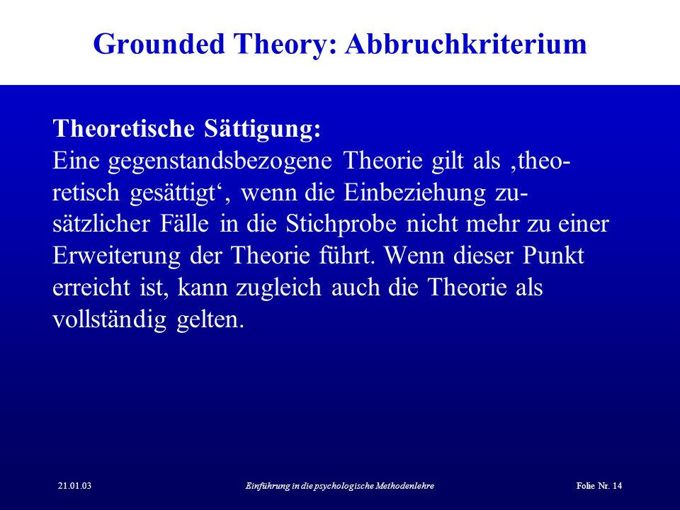 Grounded Theory: Abbruchkriterium