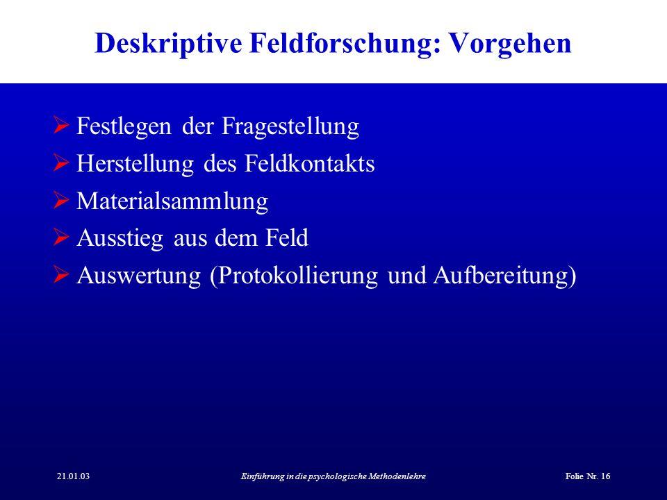 Deskriptive Feldforschung: Vorgehen