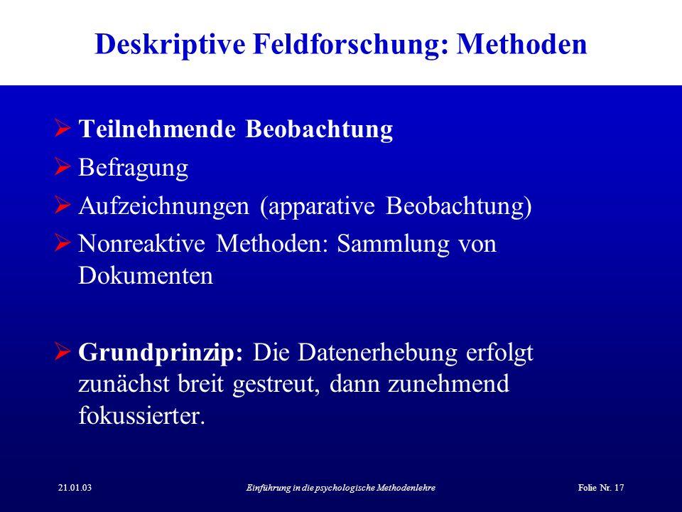 Deskriptive Feldforschung: Methoden