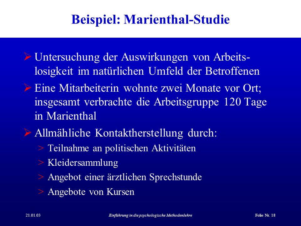 Beispiel: Marienthal-Studie