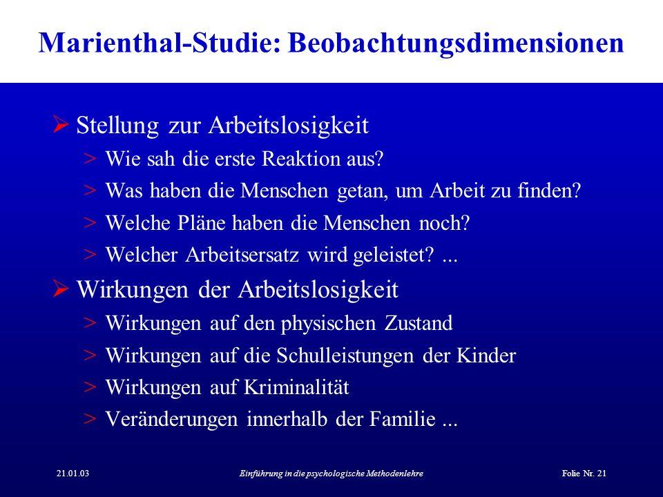 Marienthal-Studie: Beobachtungsdimensionen