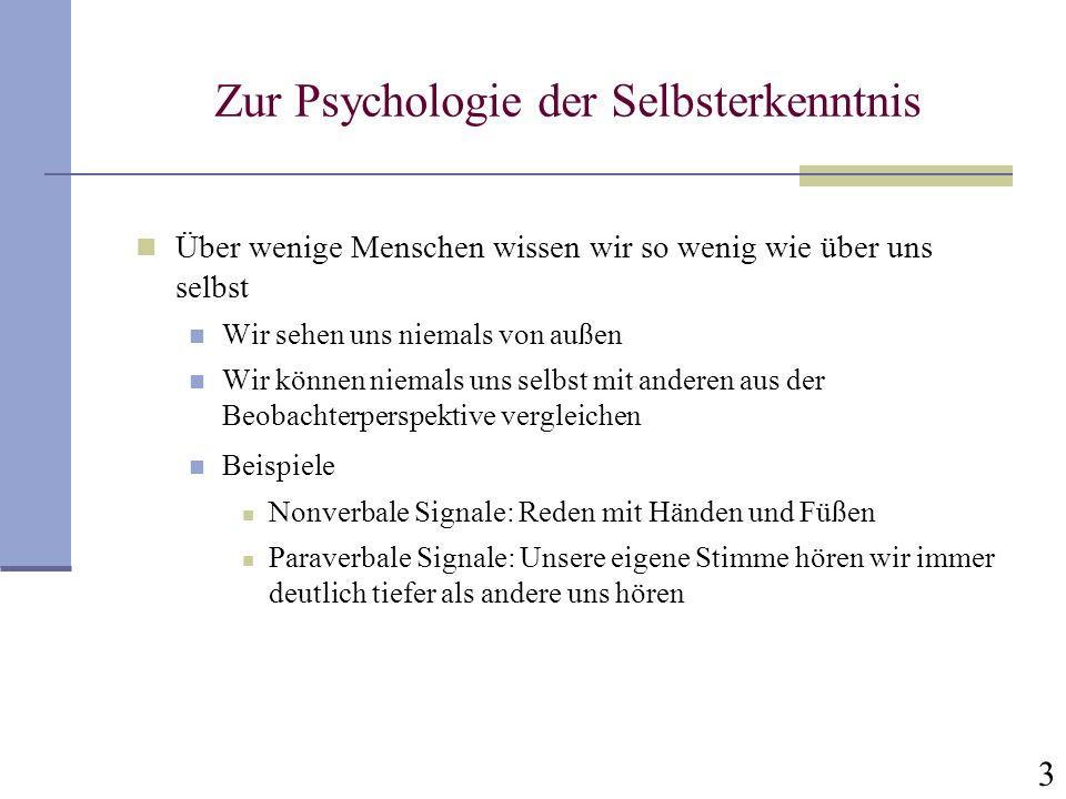 Zur Psychologie der Selbsterkenntnis