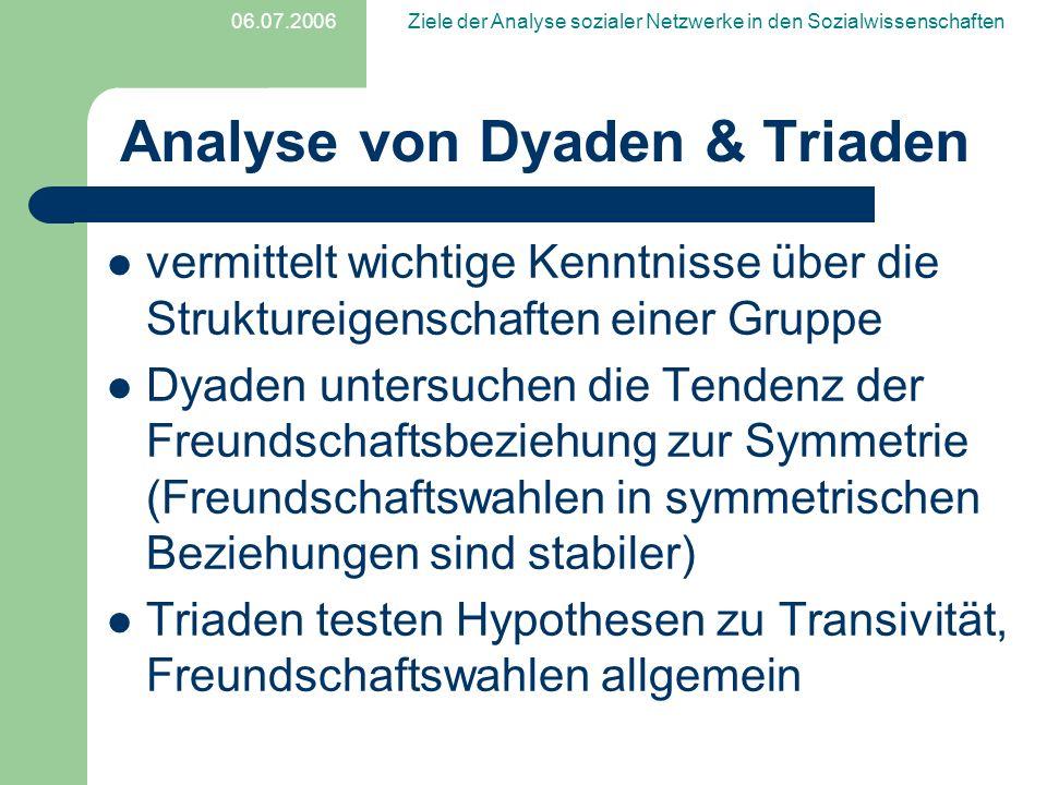 Analyse von Dyaden & Triaden