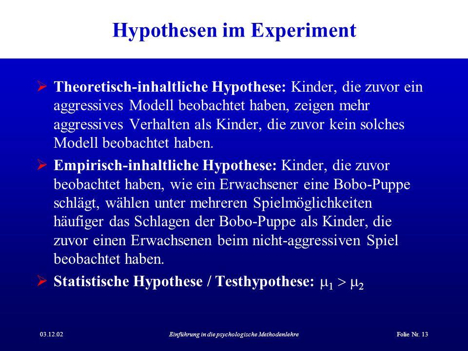 Hypothesen im Experiment