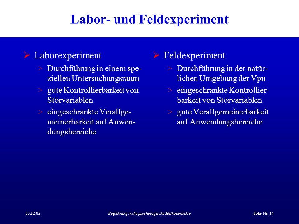 Labor- und Feldexperiment
