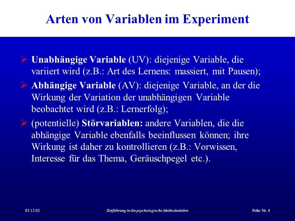 Arten von Variablen im Experiment