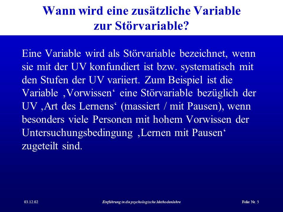 Wann wird eine zusätzliche Variable zur Störvariable