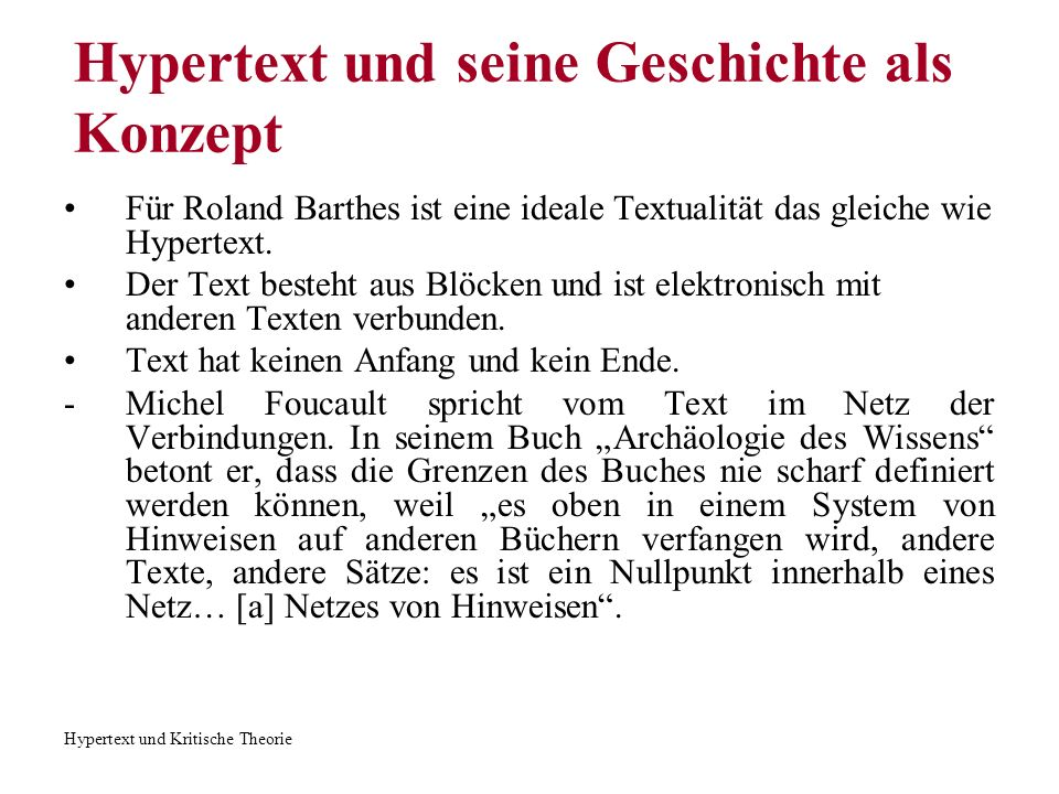 Hypertext und seine Geschichte als Konzept