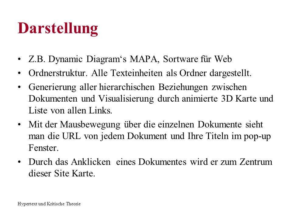 Darstellung Z.B. Dynamic Diagram's MAPA, Sortware für Web