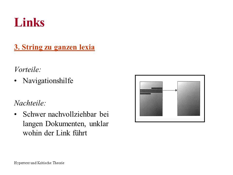 Links 3. String zu ganzen lexia Vorteile: Navigationshilfe Nachteile:
