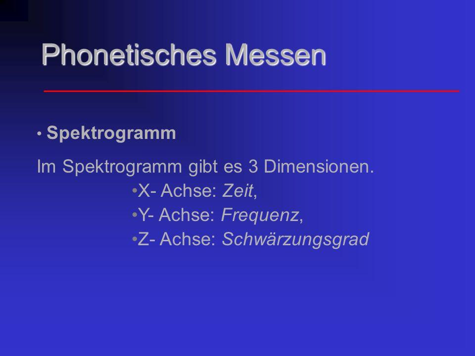 Phonetisches Messen Im Spektrogramm gibt es 3 Dimensionen.
