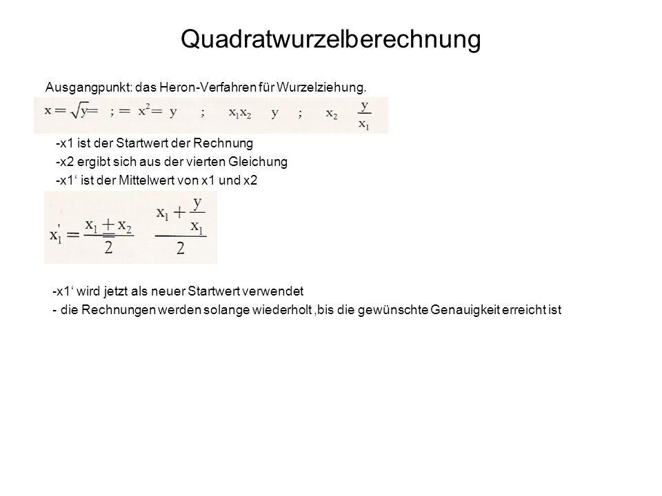 Quadratwurzelberechnung