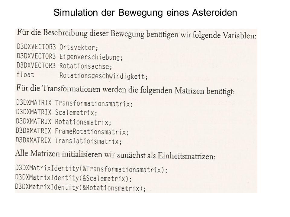 Simulation der Bewegung eines Asteroiden