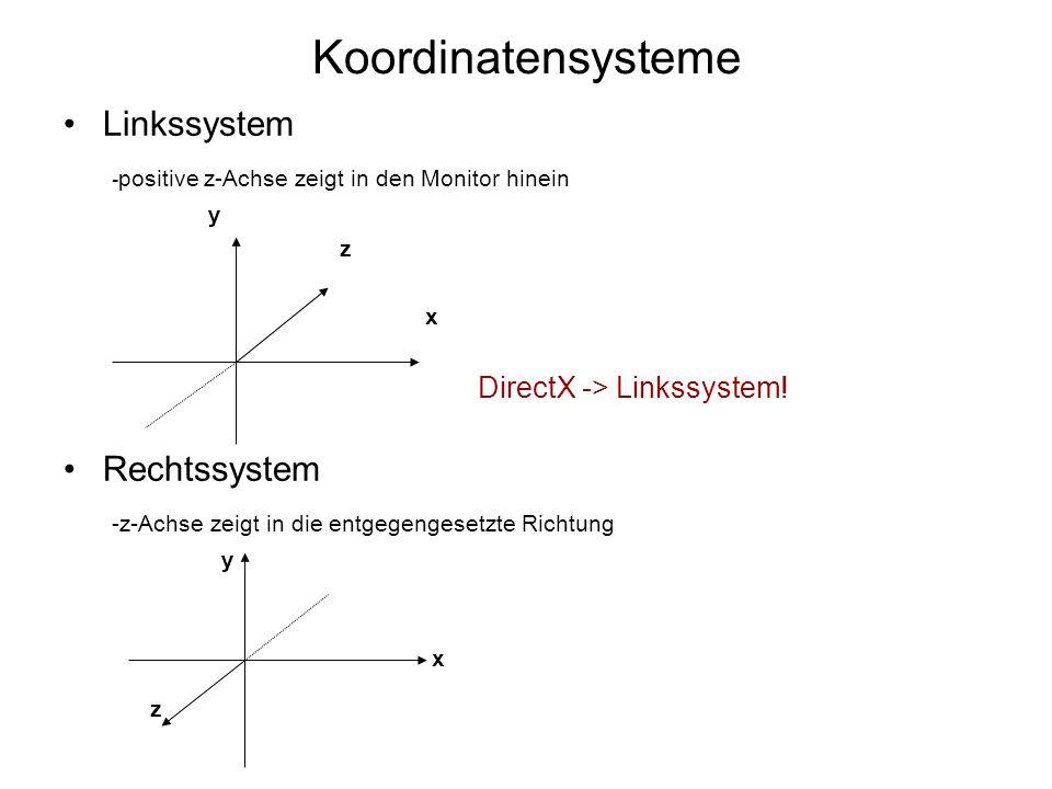 Koordinatensysteme Linkssystem