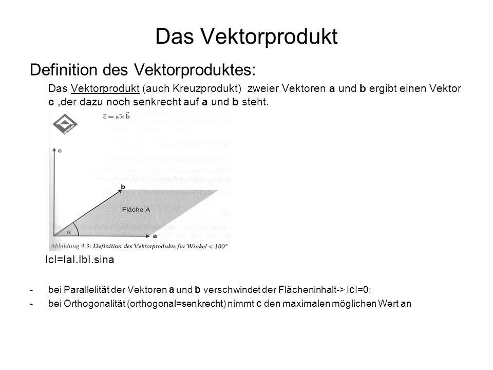 Das Vektorprodukt Definition des Vektorproduktes: